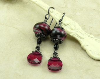 Steampunk Goth Gothic Dark Pink Love Lampwork Bead & Swarovski Earrings > Fuchsia Midnight Dark Vampire - Black Ox Niobium Ear Wires