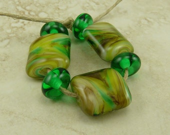 Green Earth Nugget Shape Lampwork Bead Set -  St Patricks Day Green Brown Mother Irish Day Moss SRA MADE to ORDER I ship Internationally