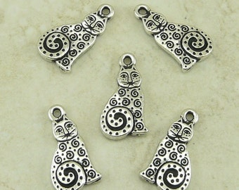 Spiral Cat Charms Laurel Burch TierraCast > Kitty Feline Meow Zen Doodle - Silver Plated Lead Free Pewter - I ship Internationally 2164