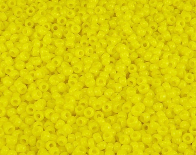 Featured listing image: TOHO 11/0 Round Seed Beads - Opaque Sunshine Yellow - 20 gram Bag - Vibrant Sunny Sun Day Glow - Color Code 42B- Jar 83