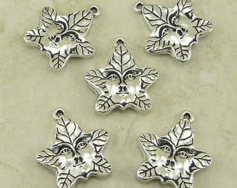 5 TierraCast Tree Spirit or Green Man charms > Forest Woodsman Magical Druid - Lead Free Silver Plated Pewter - I ship internationally 2121