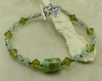 Triquetra Lampwork Bead and Crystal Bracelet - St Patricks Day Green Spring Garden Mothers Day - I ship Internationally