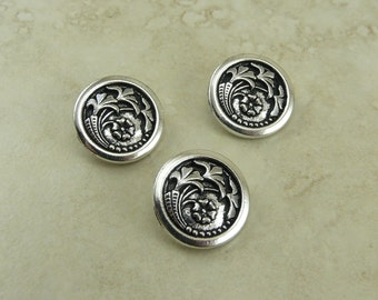 3 TierraCast Czech Flower Buttons > Thistle Floral Tudor Rose Leaf - Silver Plated LEAD FREE Pewter I ship Internationally 6579