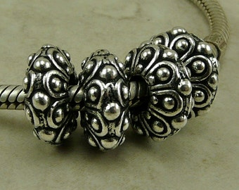 4 TierraCast 12mm Casbah Euro Charm Beads - Silver Plated Lead Free Pewter - I ship Internationally - 5760
