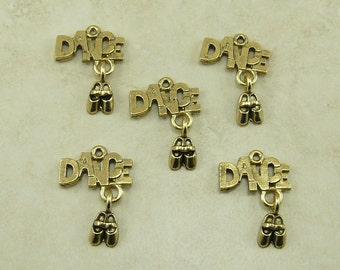 Dance with Shoe Dangle Charms Ballet Tap Jazz Hip Hop Dance Team Qty 5 Gold Finish American made - Lead Free Pewter - I ship internationally