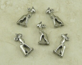 Egyptian Cat God Bastet Charms > Feline Kitty Meow Baste - Qty 5 Raw American Made Lead Free Pewter - I ship internationally