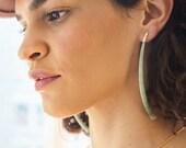 Naked Shores -Green Dentalium Extra Large Statement Earrings