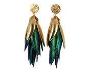 I Can See the Light - Mix Metal and Beetle Wing Earrings