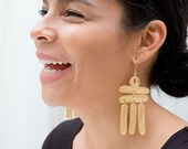 Building a Ladder - Hand Etched  Dangle Dramatic Earrings