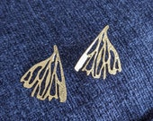 Edge of the Earth - Gold Plated Brass Etched Hand Cut Earrings
