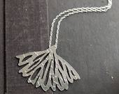 When the Quiet Comes Hand etched sterling silver wing pendant