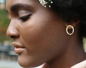 Small Boulders - Small Etched Oval Earrings in Sterling Silver or Gold Plate