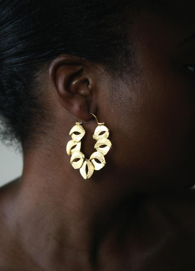 Sculptured Organic Reticulated Gold Hoop Earring image 0