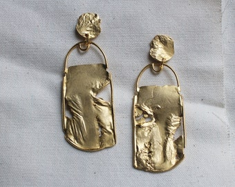 Two Clouds Above Nine - Large Reticulated Rectangular earrings