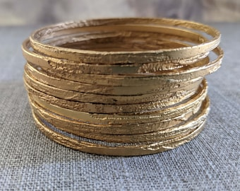 Alice Thin Hand Etched Gold Plated Bangle - One of a Kind- Listing for One Bangle Only
