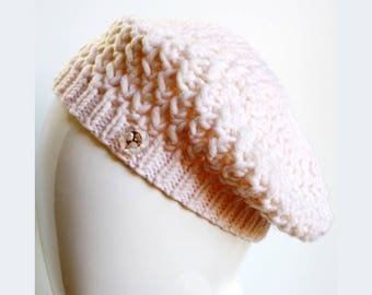SAMPLE SALE, Size Small-Medium Merino Wool Hand Knit Hat, Beret / Tam in IVORY, White, Cream, Slouch Hat, Winter Hat, Soft Hat