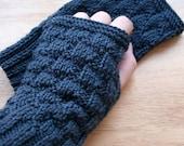 Toasty Textures Merino Wool Knit Fingerless Gloves -- CUSTOM COLORS