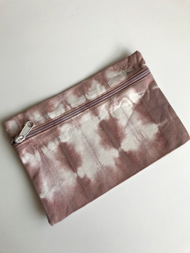 Shibori  Itajime Design Travel Wine Terra Cotta Zipper Pouch  Purse Bag Cotton Canvas Hand Dyed with Natural Dyes Makeup Gift