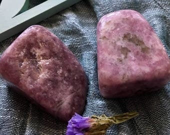 Tumbled Violet Lepidolite with Calcite    Healing Stones & Crystals  Anger and Tension Release,  Polished Stones, Purple Stones