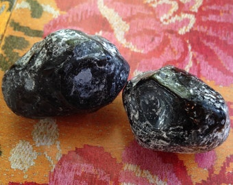 Apache Tears Two Pieces  Obsidian, natural volcanic glass  Forgiving the Unforgivable. black obsidian, healing crystals and stones, Easter