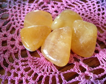 Tumbled Gemmy Vivid Orange Calcite  Mango Calcite, Healing Crystals and Stones