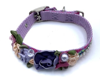 DOG Collar/ Bridal/ Fancy/ multi-purple collar /  swarovski crystals / silk rosettes/  hand stitched / durable.