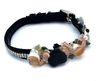 Halloween DOG Collar/ Bridal/ Fancy/ Black/ Orange /  swarovski crystals / silk rosettes/  hand stitched / durable.