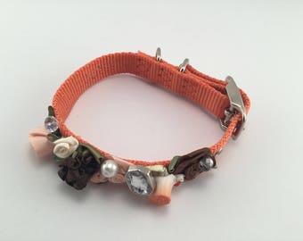 DOG Collar/ Bridal/ Fancy/ orange  rosette  embellishment/  swarovski crystals /  hand stitched / durable.