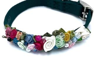 DOG Collar/ Bridal/ Fancy/ multi-color//  swarovski crystals / silk rosettes/  hand stitched / durable.