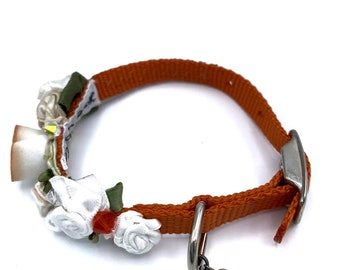 DOG Collar/ Bridal/ Fancy/ orange collar  /  swarovski crystals / silk rosettes/  hand stitched / durable.