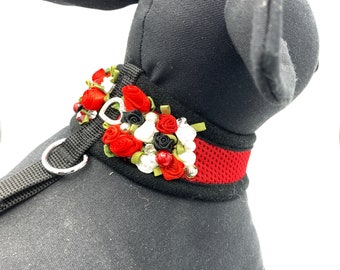 Black Harness with red and white rosettes  / swarovski / handstiched / durable / comfortable/elegant
