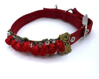 DOG Collar/ Bridal/ Fancy/ red rosette  embellishment/  swarovski crystals /  hand stitched / durable.