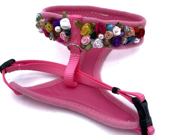 Bright pink Harness with multicolored silk rosettes and pearls / swarovski / handstiched / durable / comfortable/elegant