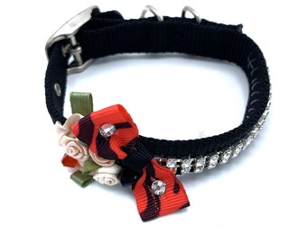 DOG Collar/ Black /  Fancy/ orange /  swarovski crystals / silk rosettes/  hand stitched / durable.