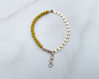 high low bracelet in mustard yellow | delicate and dainty chain bracelet | 14k gold fill or sterling silver coin chain | stacking bracelet