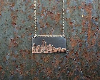 Seattle Washington skyline necklace   Seattle skyline pendant   etched copper pendant   handmade gift   jewelry for her