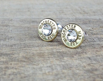 223 Winchester Remington bullet earrings   Swarovski crystals   sterling silver studs   jewelry for her   bullet studs