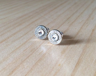 silver 223 Winchester Remington bullet earrings   Swarovski crystals   sterling silver studs   bullet studs   jewelry for her
