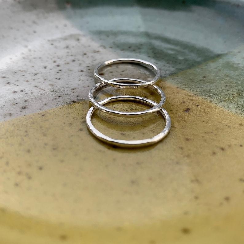 handmade skinny hammered ring  sterling silver ring  image 0
