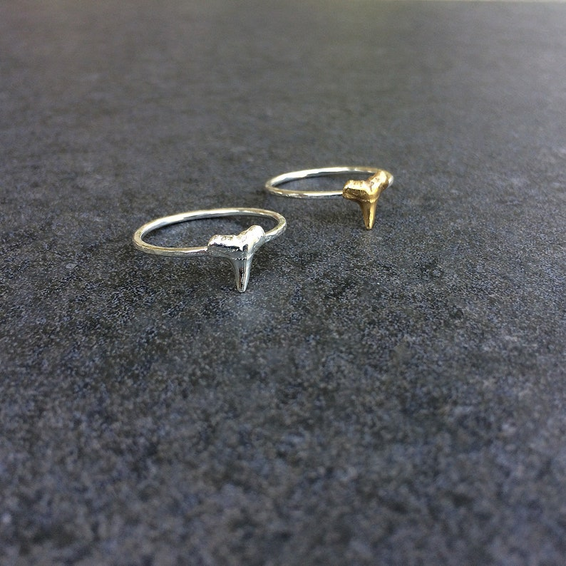 hammered shark tooth ring  handmade hammered ring  sterling image 0