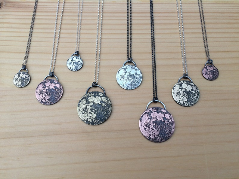full moon pendant necklace  brass  copper  sterling silver image 0
