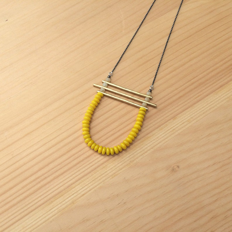 the Kirsten necklace in vintage yellow glass and faceted honey image 0
