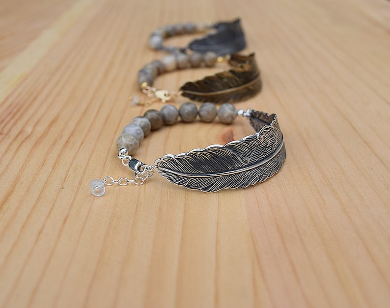 silver feather bracelet with fossilized coral gemstone beads  image 0
