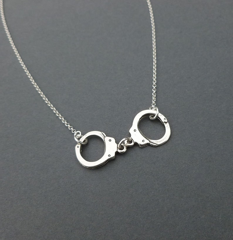 sterling silver handcuff necklace  charm necklace  gift for image 0