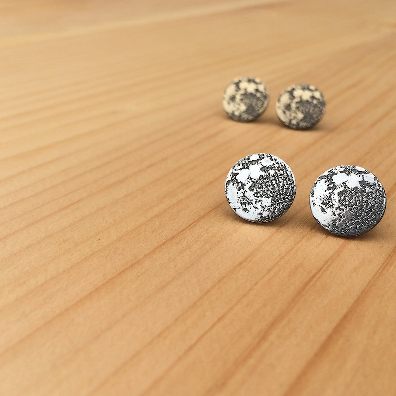 full moon earrings  stud earrings  moon studs  jewelry for image 0