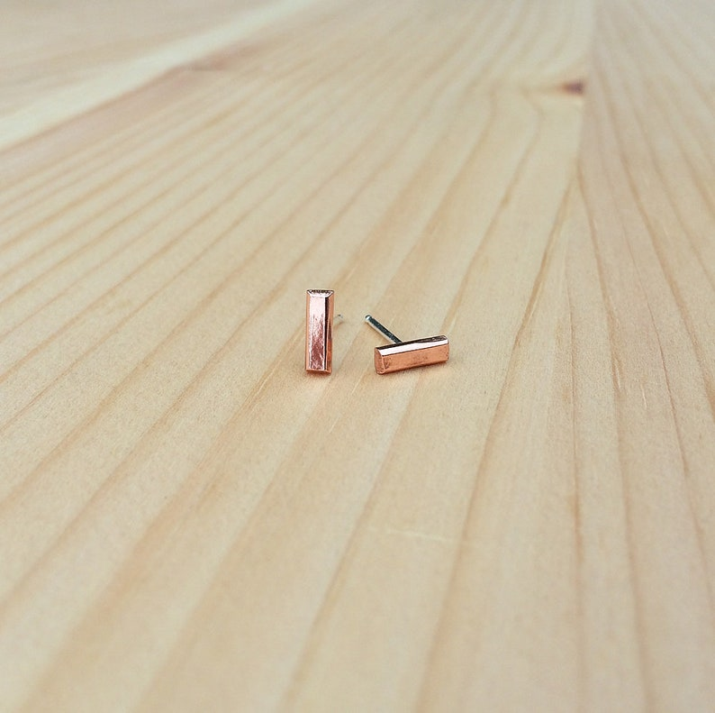 simple bar studs in sterling silver  brass  copper  gift image 0