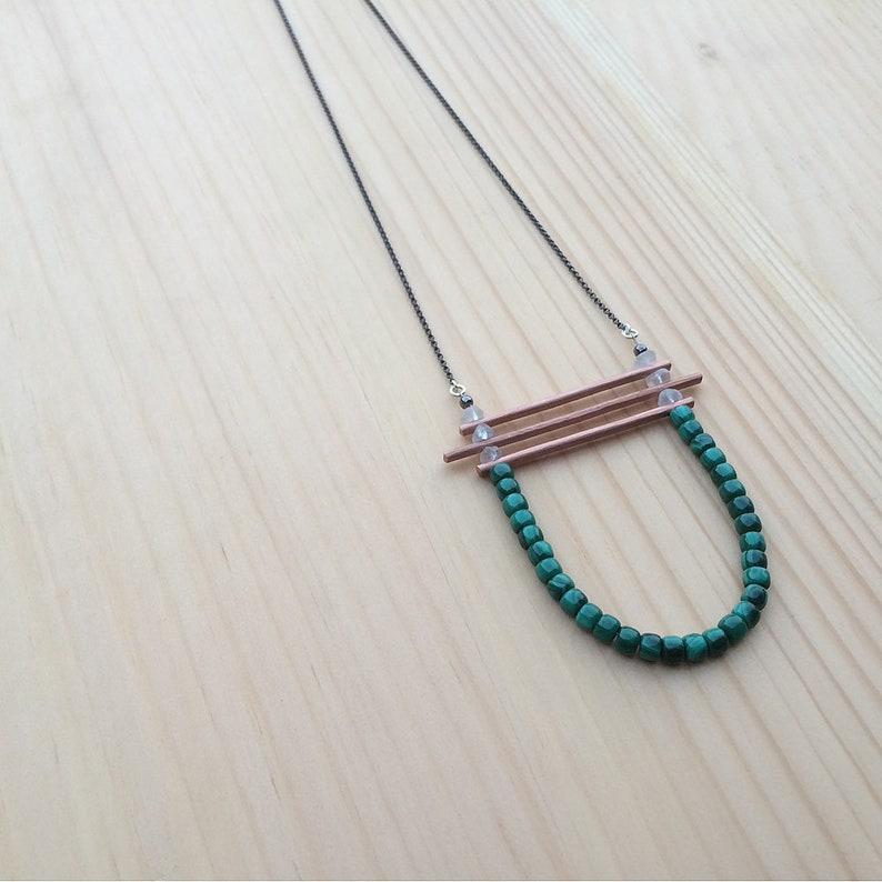 the Kirsten necklace in malachite and crystal quartz beads image 0