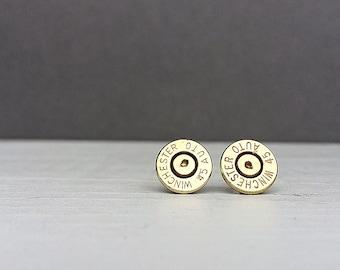 45 winchester bullet earrings   sterling silver stud earrings   gift for him   gift for her