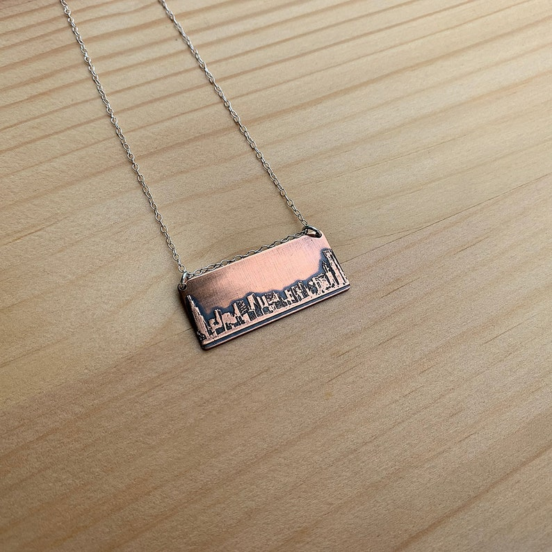 Chicago Illinois skyline necklace  Chicago skyline pendant  copper