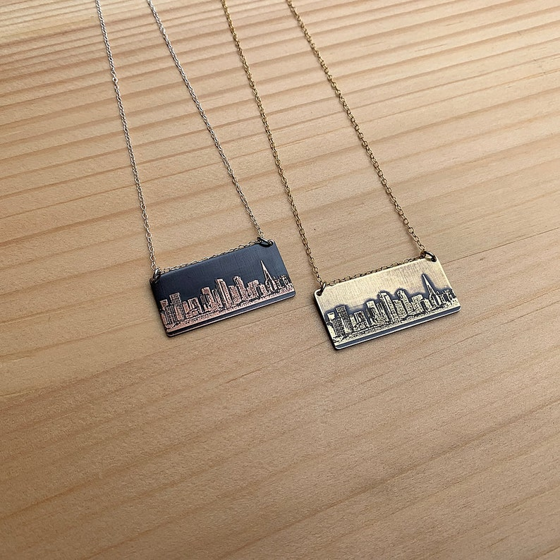 San Francisco California skyline necklace  skyline pendant in image 0